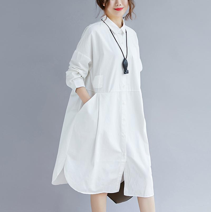女士长款衬衫 2021秋季 通勤OL文艺大码女装白色中长款衬衣女士衬衫连衣裙百搭_推荐淘宝好看的女长款衬衫