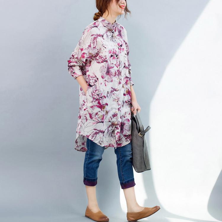 女士长款衬衫 2021春装新款通勤文艺小立领宽松大码中长款衬衣女士衬衫花裙_推荐淘宝好看的女长款衬衫