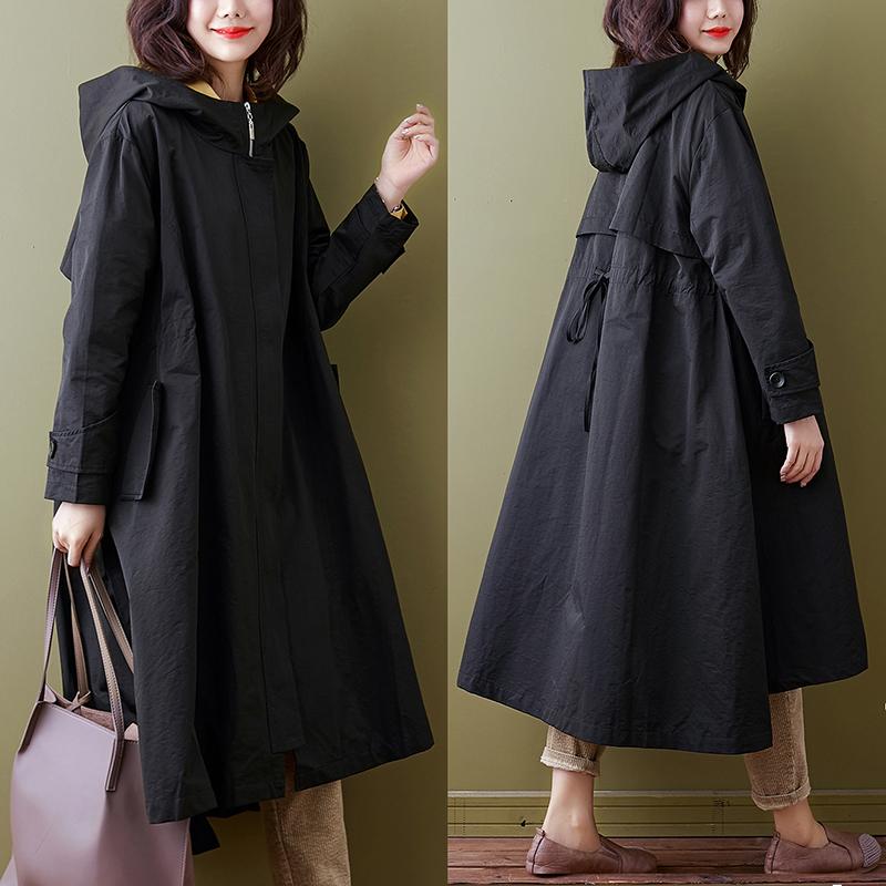 女款风衣 2020秋季新款流行黑色宽松大码连帽收腰英伦中长款过膝风衣女士_推荐淘宝好看的女风衣