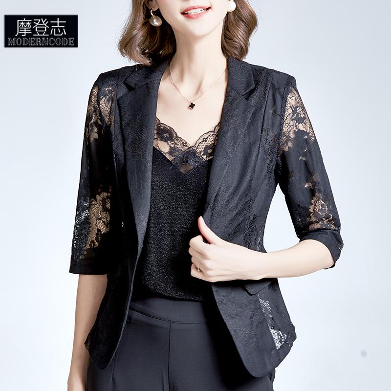 黑色小西装 2021夏季修身黑色薄外套女设计感小众半袖蕾丝镂空高端小西服上衣_推荐淘宝好看的黑色小西装