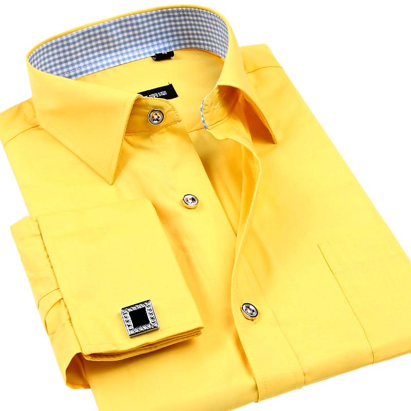 男士袖扣衬衫 秋装法式袖扣衬衫男长袖宽松微胖潮流修身时尚格子休闲纯黄色衬衣_推荐淘宝好看的男袖扣衬衫