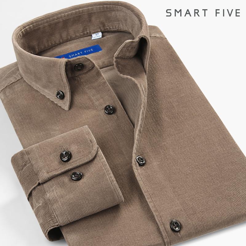 男士长袖衬衫 灯芯绒衬衫男修身韩版纯色商务休闲复古长袖衬衣加厚保暖条绒衬衫_推荐淘宝好看的男长袖衬衫