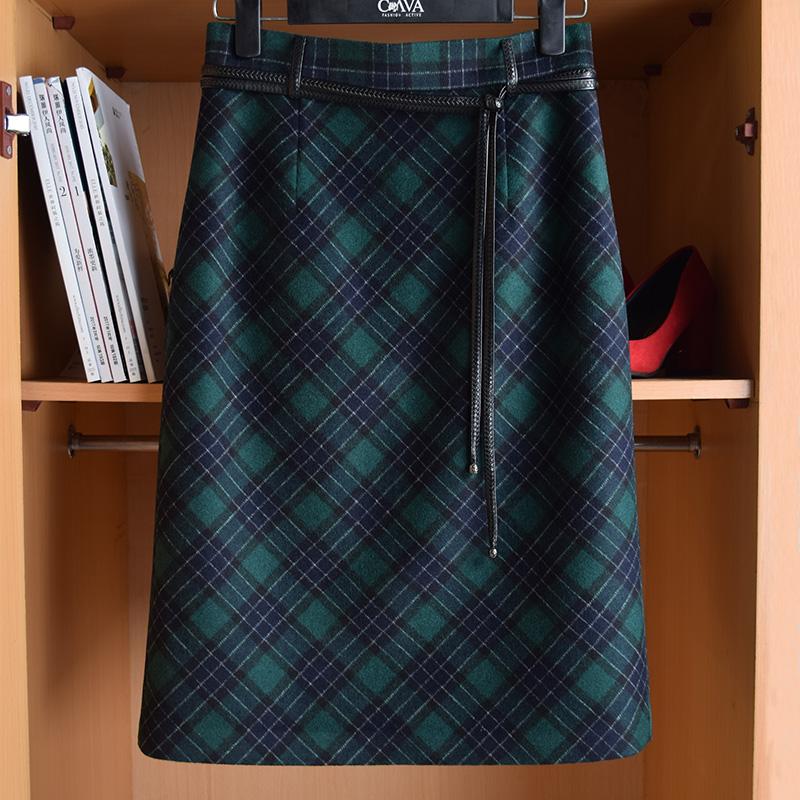 绿色半身裙 复古高腰羊毛包臀半身裙格子长裙过膝裙修身显瘦绿色气质H型半裙_推荐淘宝好看的绿色半身裙
