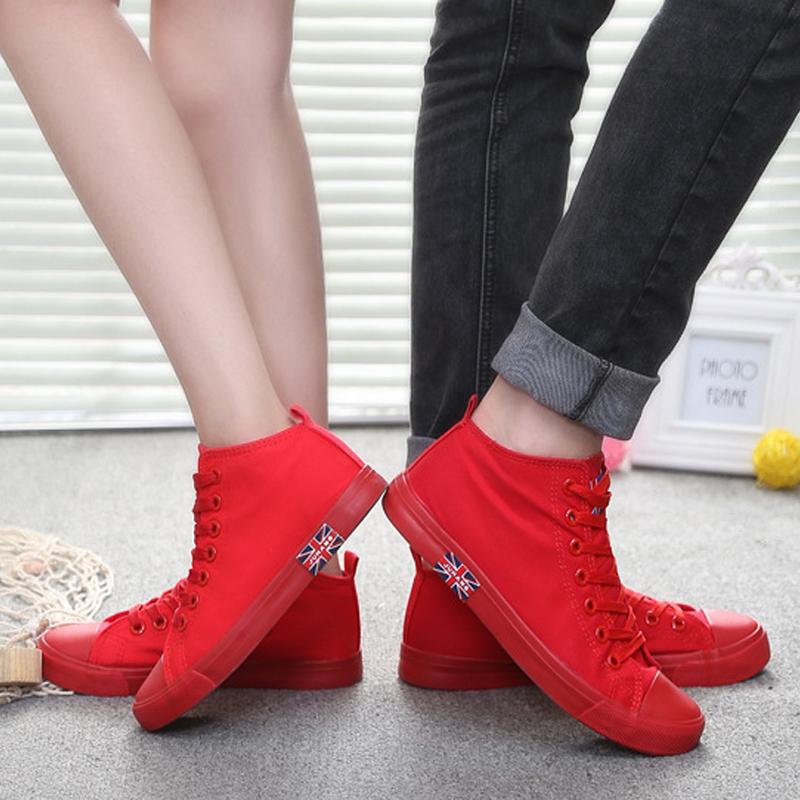 红色高帮鞋 韩版大红色高帮帆布鞋女2021春季全黑色平底小学生板鞋情侣鞋单鞋_推荐淘宝好看的红色高帮鞋