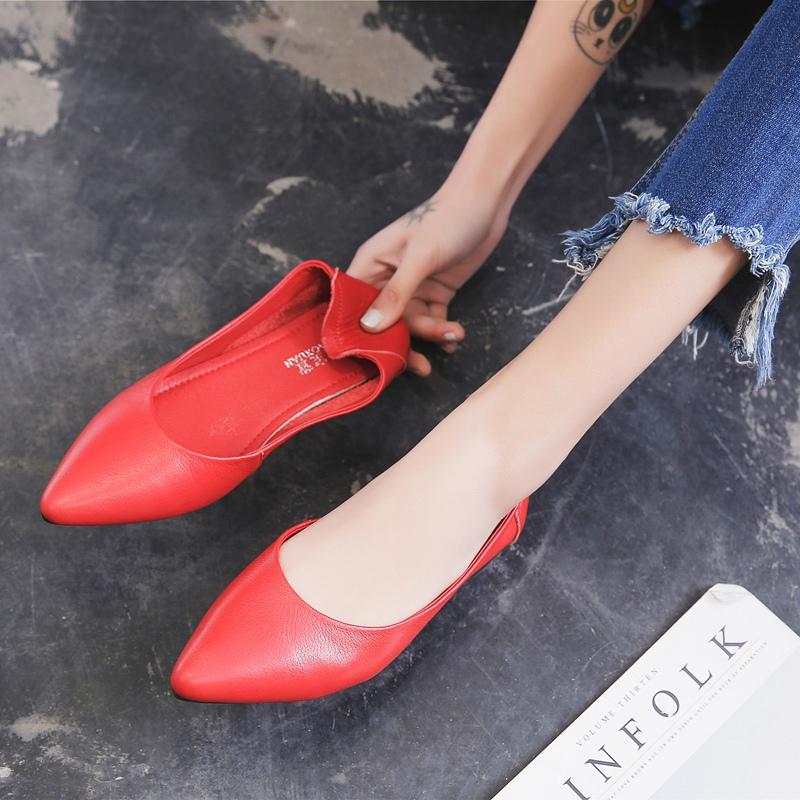 红色豆豆鞋 平底鞋浅口鞋子尖头单鞋2020春款真皮豆豆鞋玫红大红色女鞋新百搭_推荐淘宝好看的红色豆豆鞋