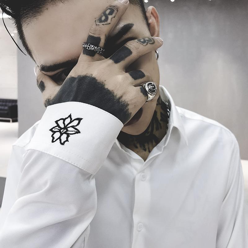 男士长袖衬衫 StyleD自制花朵刺绣白衬衫ins风搭配西装秋季长袖衬衫韩版衬衣男_推荐淘宝好看的男长袖衬衫