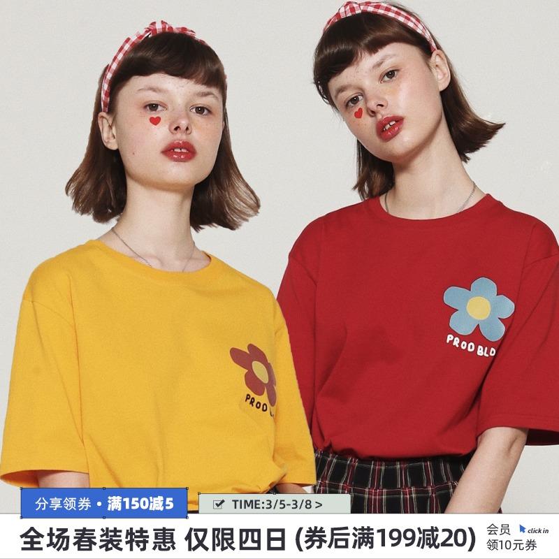 红色T恤 红色短袖T恤女宽松可爱小花PROD 古着感女生T恤白色学生中袖上衣_推荐淘宝好看的红色T恤