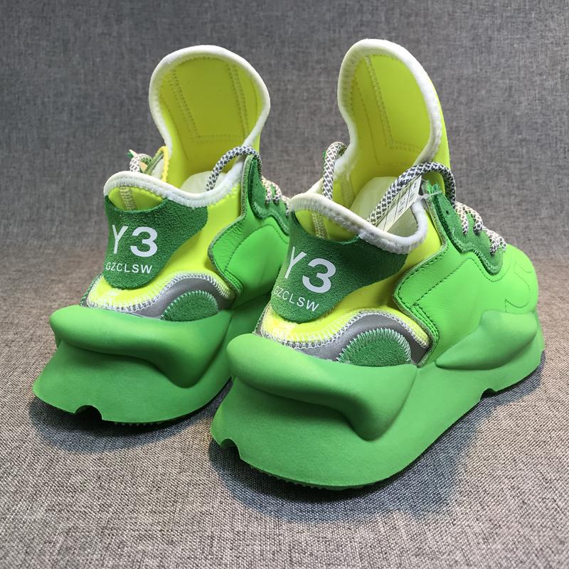 绿色运动鞋 老爹鞋男y3gzclsw真皮反光绿色运动鞋女厚底ins潮情侣黑武士休闲_推荐淘宝好看的绿色运动鞋