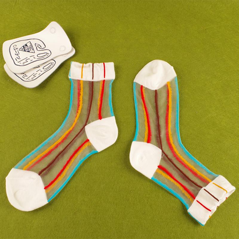彩色透明丝袜 夏季薄款女士袜子韩国原宿ins创意彩色条纹中筒透明玻璃丝袜纯棉_推荐淘宝好看的彩色透明丝袜