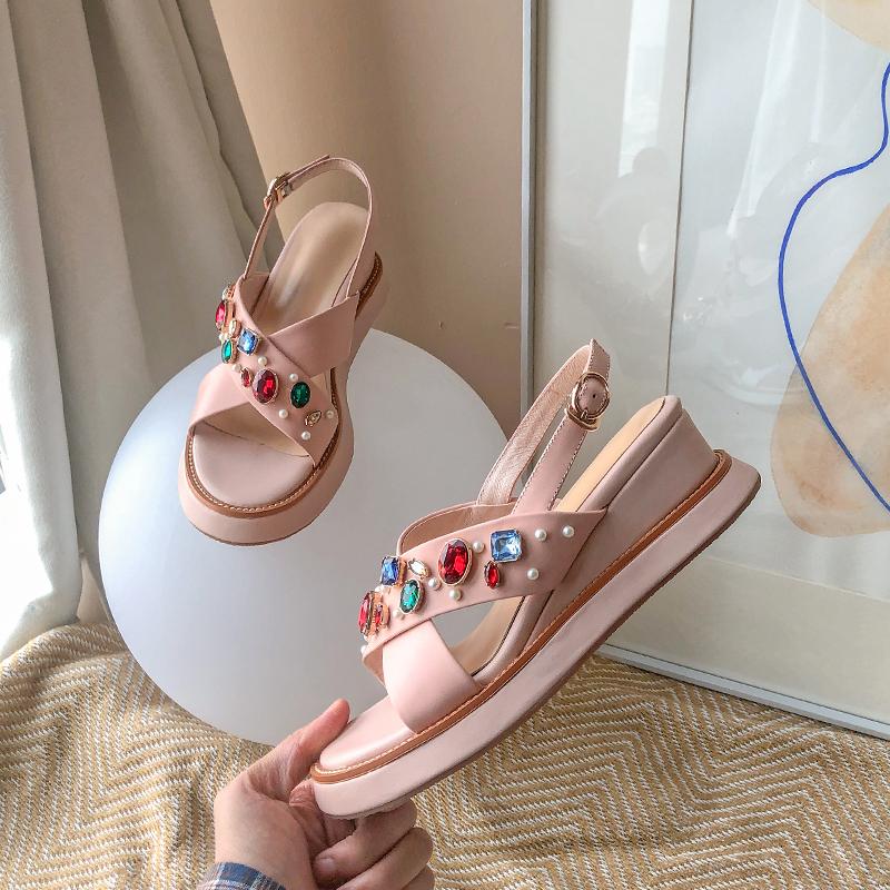 粉红色松糕鞋 真皮休闲松糕厚底凉鞋女绿色彩钻粉红色珍珠交叉带水钻坡跟鞋白色_推荐淘宝好看的粉红色松糕鞋