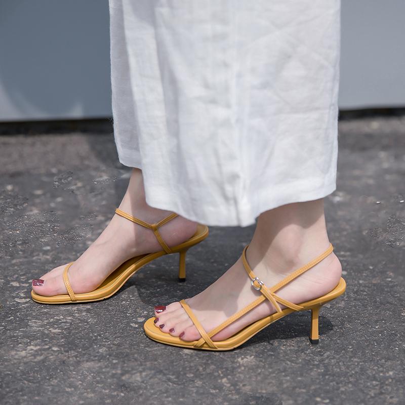 黄色凉鞋 网红凉鞋女夏2019新款性感百搭黄色露趾一字扣带韩版7cm细跟高跟_推荐淘宝好看的黄色凉鞋