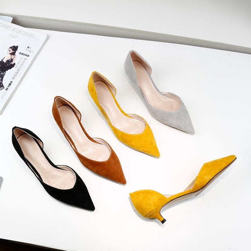 黄色单鞋 低跟细跟尖头单鞋女浅口侧空中跟真皮黄色小跟百搭鞋子2020新款_推荐淘宝好看的黄色单鞋
