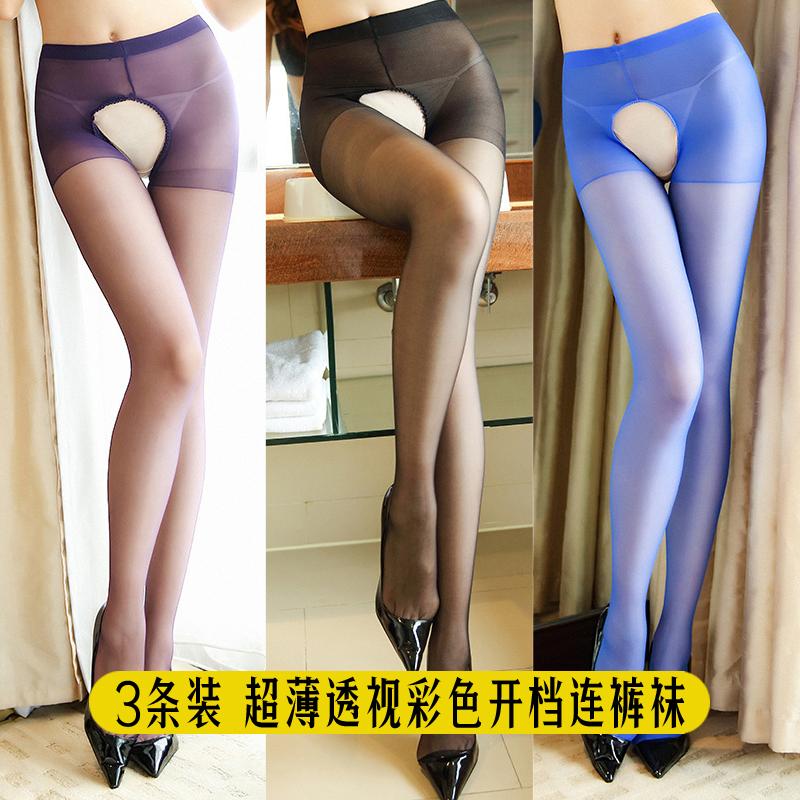 彩色透明丝袜 2条3条 情趣丝袜彩色开裆免脱超薄透明性感连裤袜糖果色白色女_推荐淘宝好看的彩色透明丝袜