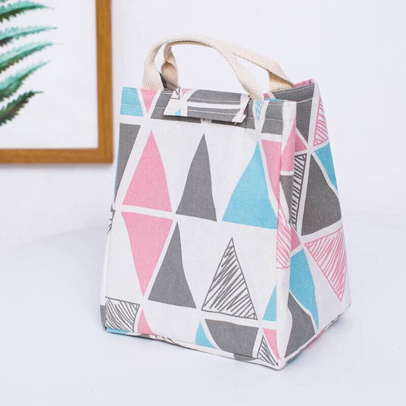 粉红色帆布包 手提包拎饭盒包袋保温帆布便当包大号码学生午餐盒包 粉红色 粉三_推荐淘宝好看的粉红色帆布包