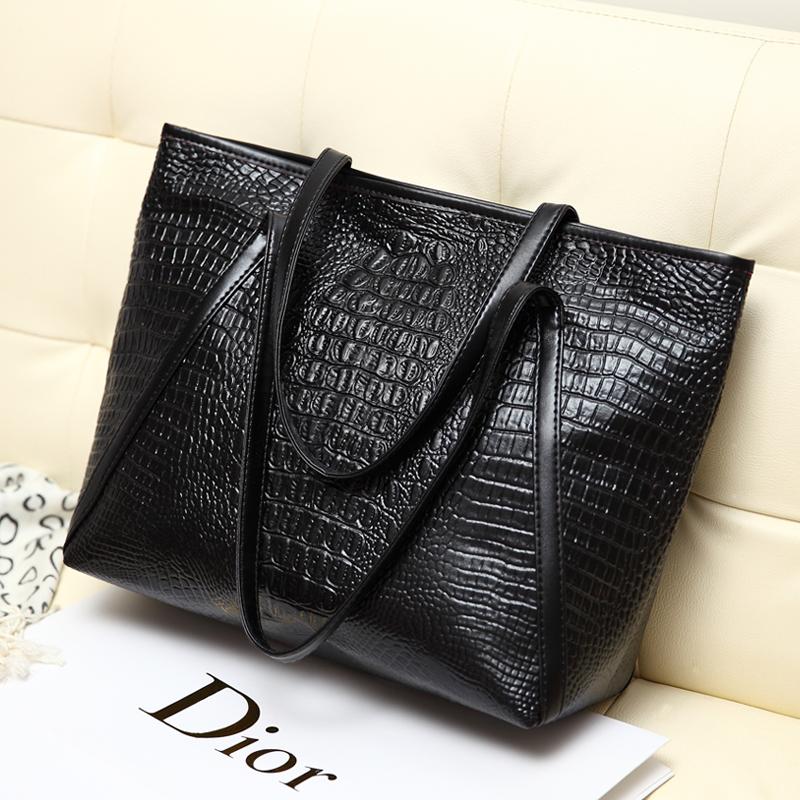 黑色手提包 女包2021春夏新款黑色简约百搭鳄鱼纹大包包时尚休闲手提单肩女包_推荐淘宝好看的黑色手提包