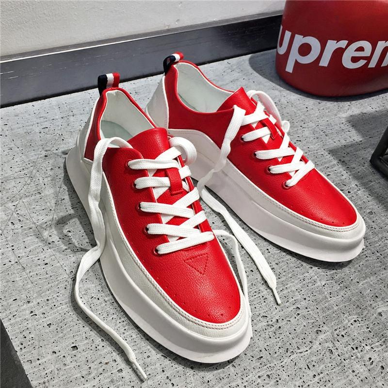 红色松糕鞋 港仔男鞋运动松糕鞋红色休闲鞋文艺板鞋韩版增高小白鞋林弯弯潮鞋_推荐淘宝好看的红色松糕鞋