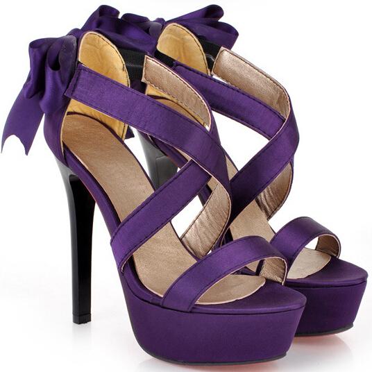 紫色鱼嘴鞋 夏款43码蝴蝶结高跟凉鞋 甜美扣带露趾防水台细跟鞋 黑色紫色女鞋_推荐淘宝好看的紫色鱼嘴鞋