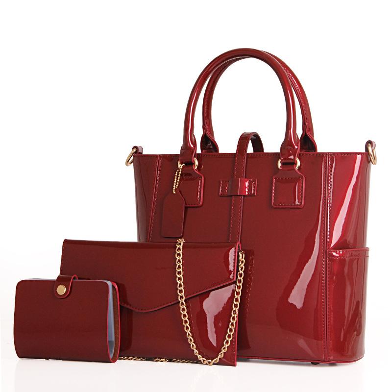 欧美手提包 女包2018新款欧美风范潮漆皮子母包三件套单肩斜挎手提包_推荐淘宝好看的女欧美手提包