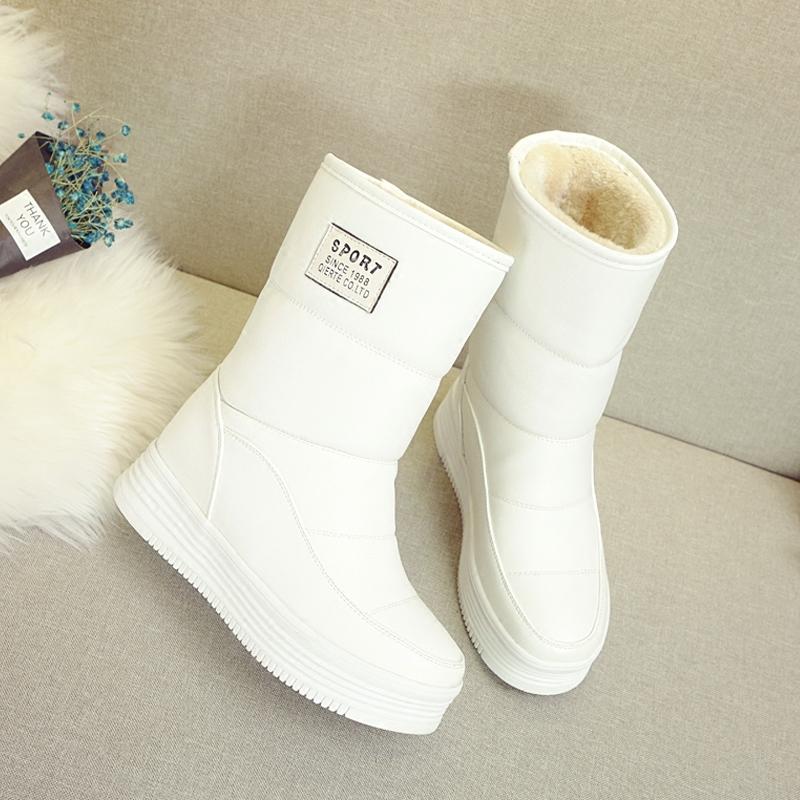 白色厚底鞋 白色雪地靴女2020新款冬季厚底棉鞋短靴加绒加厚皮面防水中筒棉靴_推荐淘宝好看的白色厚底鞋
