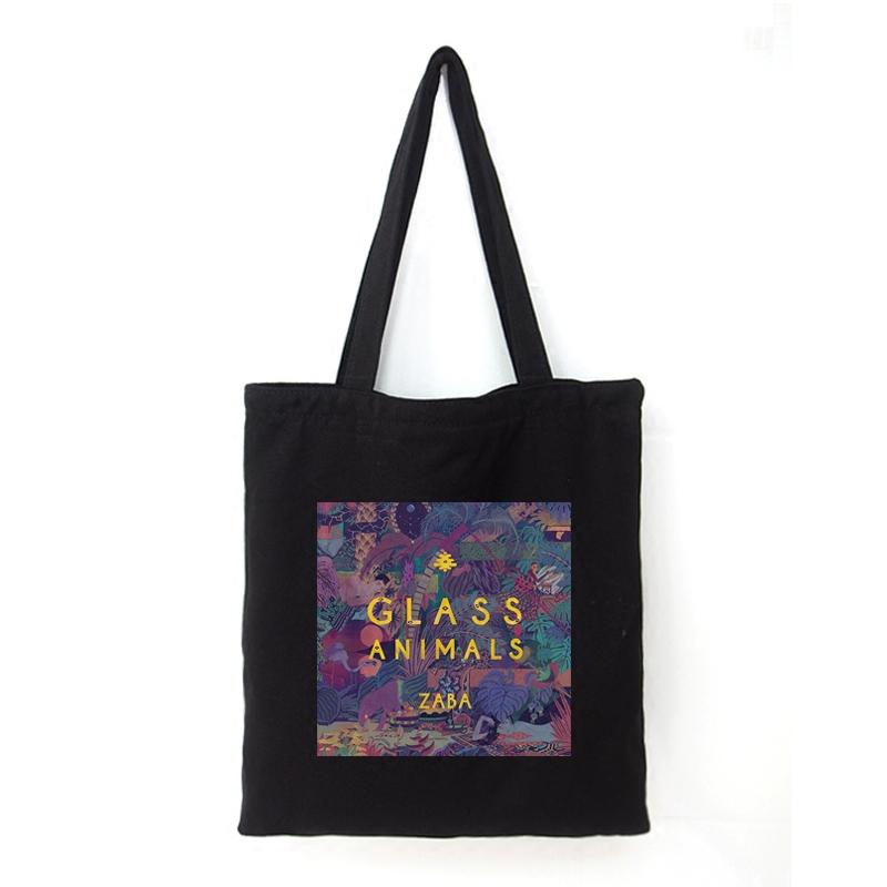白色手提包 Glass Animals乐队黑白色帆布包男女通用欧美单肩手提环保购物袋_推荐淘宝好看的白色手提包