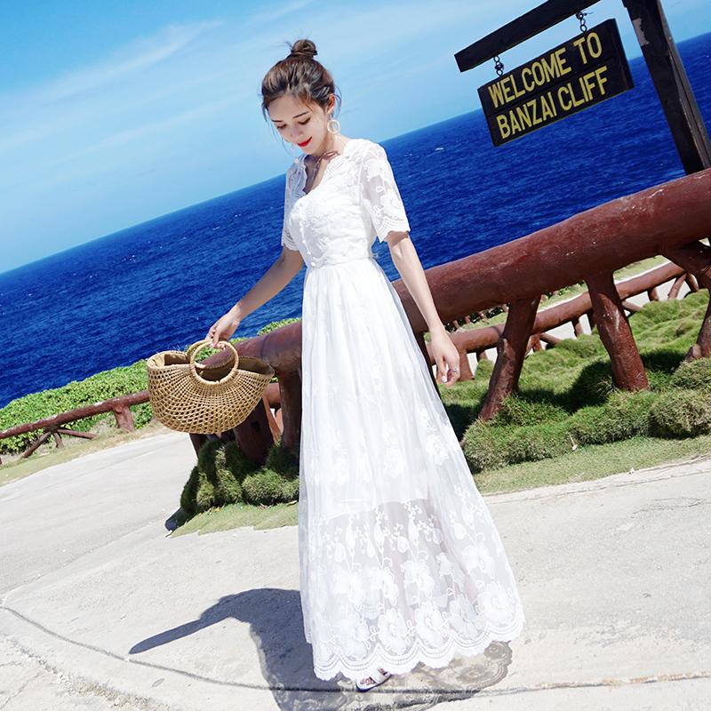 复古连衣裙 法式收腰淑女气质白色连衣裙夏天显瘦长裙子及踝复古仙女超仙森系_推荐淘宝好看的复古连衣裙