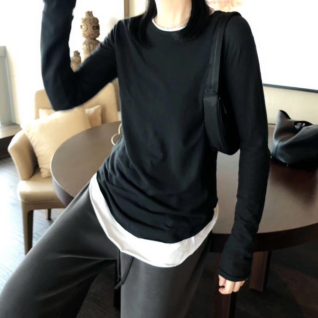 纯色长袖t恤 纯色假两件长袖T恤女修身显瘦打底修身洋气上衣韩版2021春秋新款_推荐淘宝好看的女纯色长袖t恤