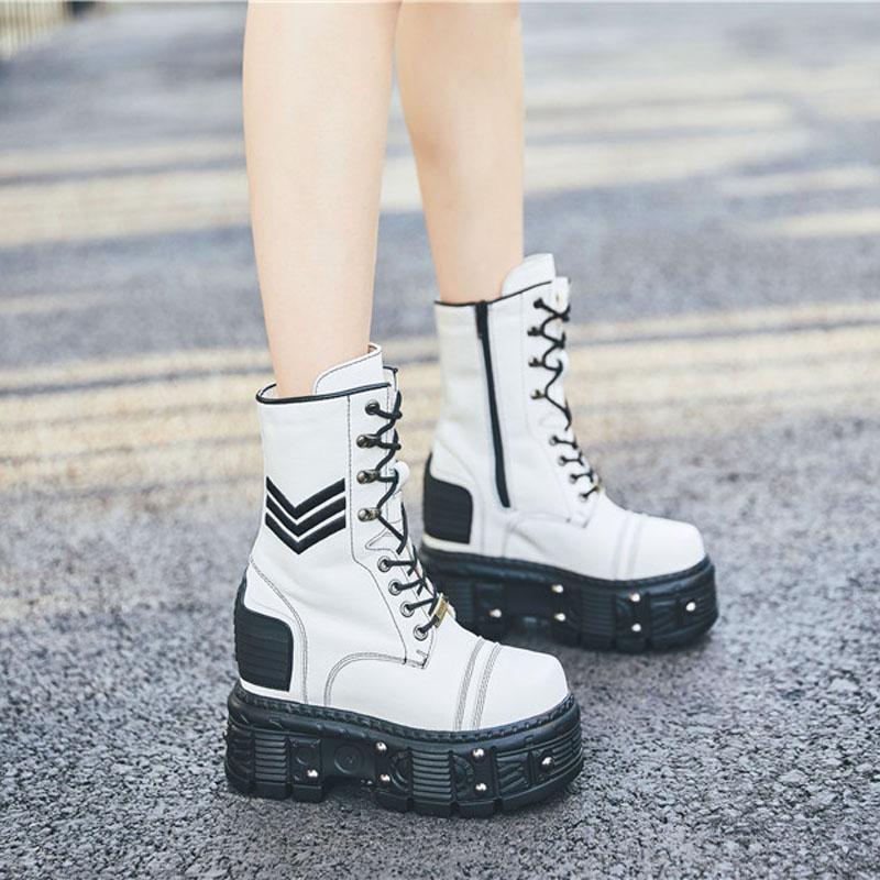 白色靴子 白色短筒靴2019秋款短靴子真皮马丁靴子松糕内增高女靴子高跟12CM_推荐淘宝好看的白色靴子