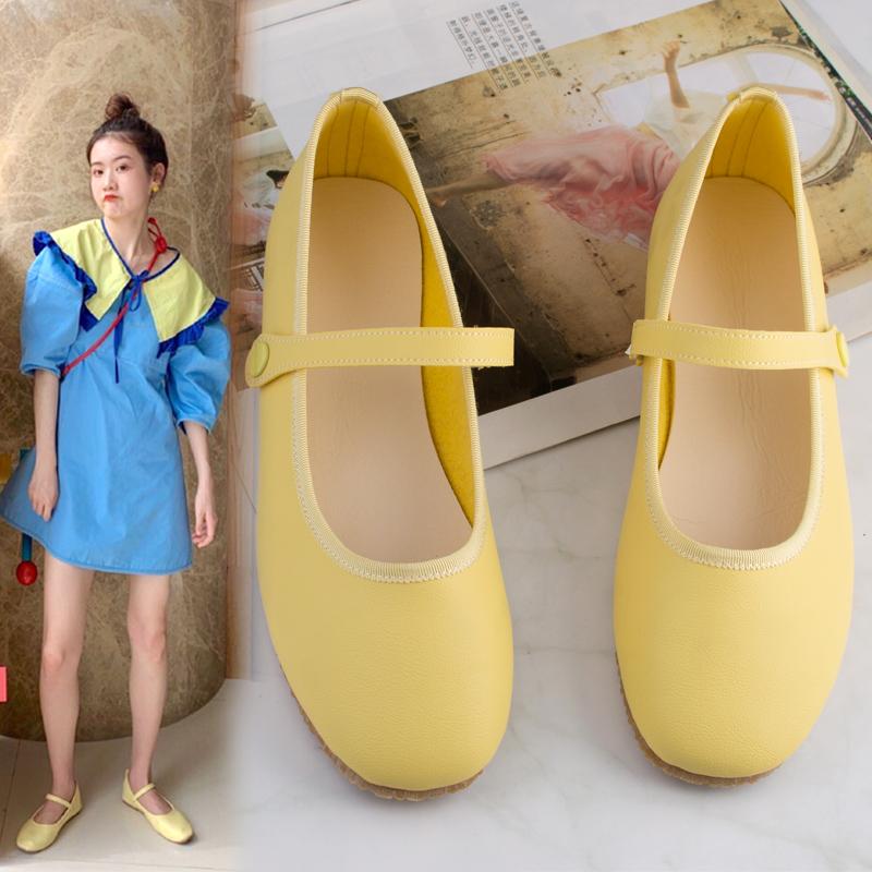 黄色平底鞋 法式玛丽珍鞋女复古浅口单鞋一字扣百搭仙女网红平底奶奶鞋黄色软_推荐淘宝好看的黄色平底鞋