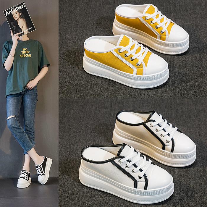 黄色松糕鞋 黑色白色黄色中青年学生女鞋厚底春夏半拖鞋帆布鞋松糕内增高8cm_推荐淘宝好看的黄色松糕鞋
