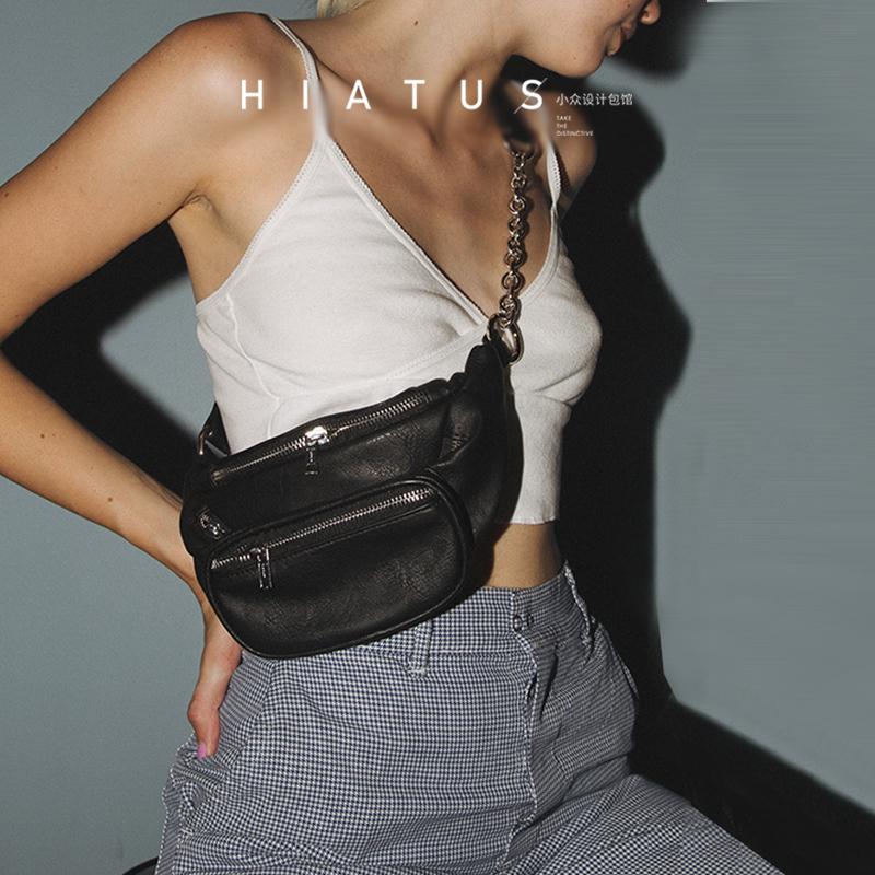 女链条包 【宠粉款】现货美国女ins潮超模同款时髦帅链条黑色腰包大王胸包_推荐淘宝好看的女女链条包