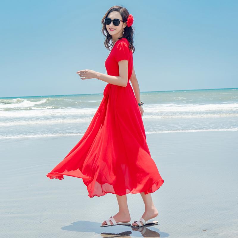 红色连衣裙 夏季雪纺连衣裙海边度假长裙海南三亚中年妈妈减龄红色短袖沙滩裙_推荐淘宝好看的红色连衣裙