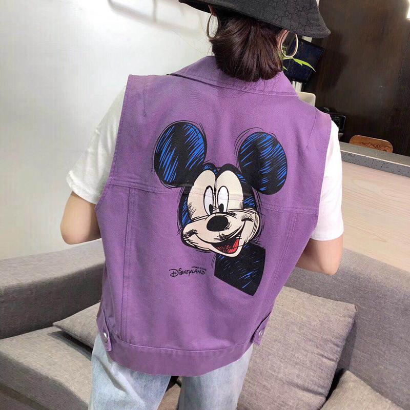 紫色马甲 新款紫色牛仔马甲女欧韩货2020夏装韩版宽松米奇图案马夹背心外套_推荐淘宝好看的紫色马甲