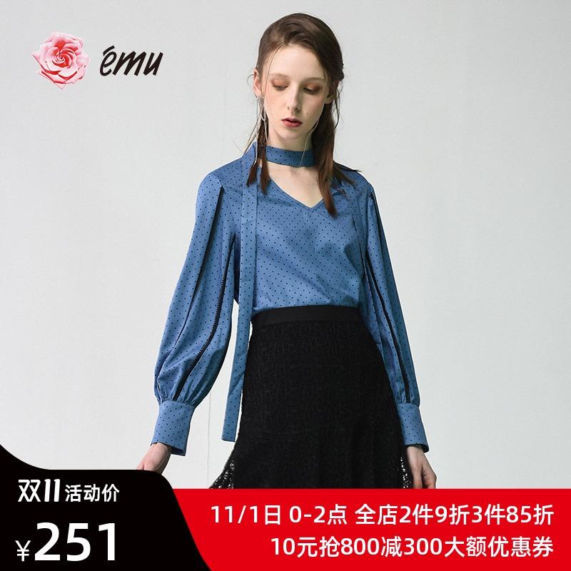 波点衬衫 emu依妙商场同款气质v领波点雪纺衬衫女设计感小众衬衣时尚洋气_推荐淘宝好看的女波点衬衫