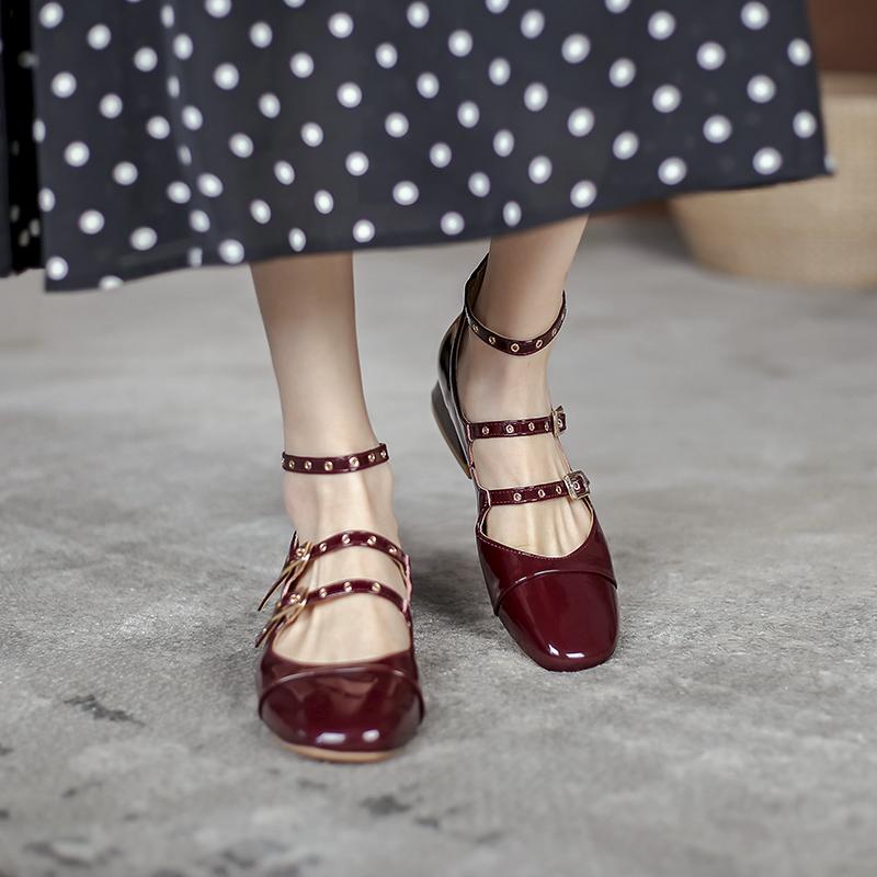 红色单鞋 红色玛丽珍鞋夏法式单鞋中跟赫本风小皮鞋女配裙子仙女温柔粗跟_推荐淘宝好看的红色单鞋