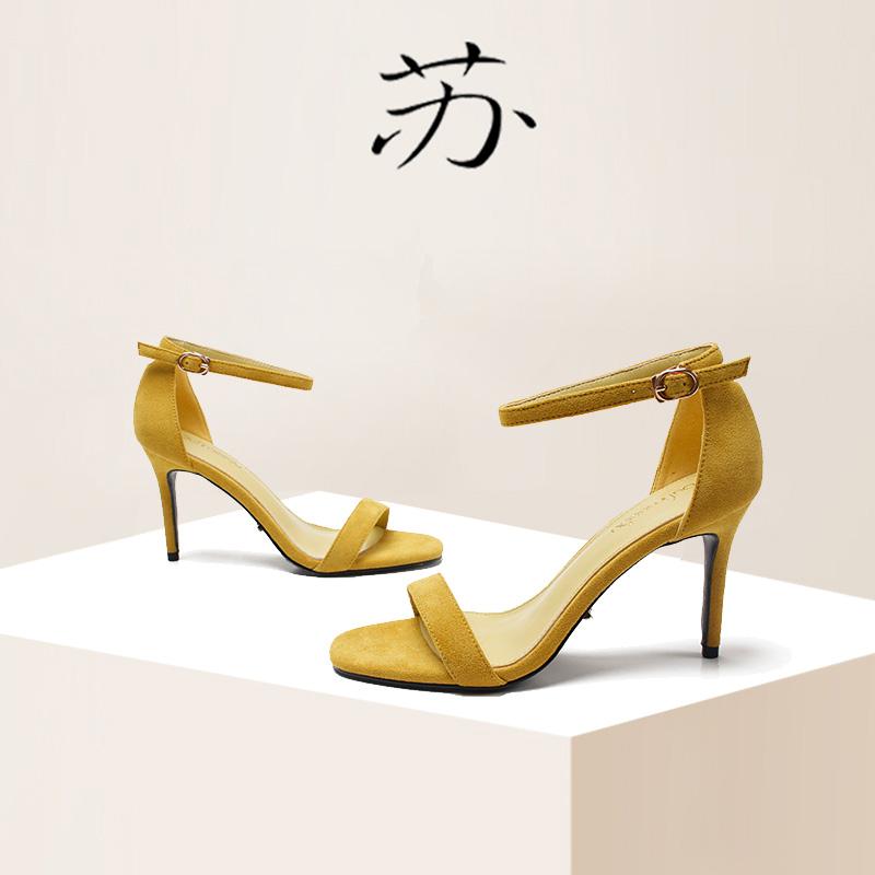 黄色罗马鞋 小清新少女2020夏季新款黄色10cm一字带细跟高跟罗马仙女风凉鞋女_推荐淘宝好看的黄色罗马鞋