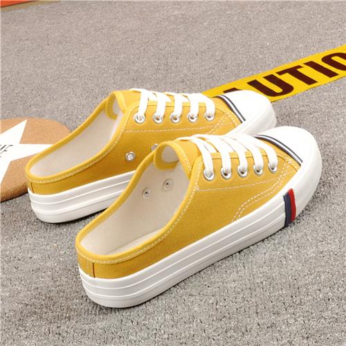 黄色帆布鞋 新款半拖女鞋子无后跟一脚蹬懒人鞋黄色帆布鞋平底百搭休闲鞋潮鞋_推荐淘宝好看的黄色帆布鞋
