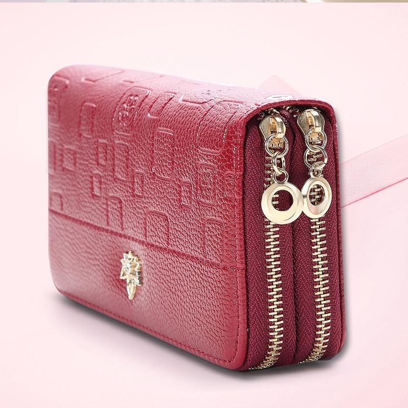 粉红色手拿包 新款大容量钱包女长款学生韩版双层零钱包女士双拉链手拿包手机包_推荐淘宝好看的粉红色手拿包