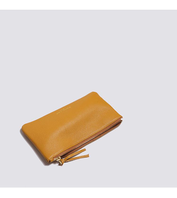 拉链牛皮手拿包 emmayao 时尚简洁韩版女式真皮手机包 超薄钱包 拉链手拿包软牛皮_推荐淘宝好看的女拉链牛皮手拿包