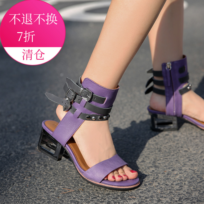 紫色鱼嘴鞋 波菲特 欧美正品头层牛皮拼色铆钉拉链中跟一字带露趾凉鞋紫色_推荐淘宝好看的紫色鱼嘴鞋