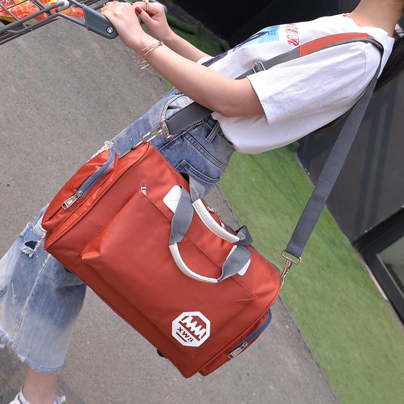紫色手提包 韩版大容量旅行袋手提旅行包轻便简约潮男小行李包女短途旅游健身_推荐淘宝好看的紫色手提包