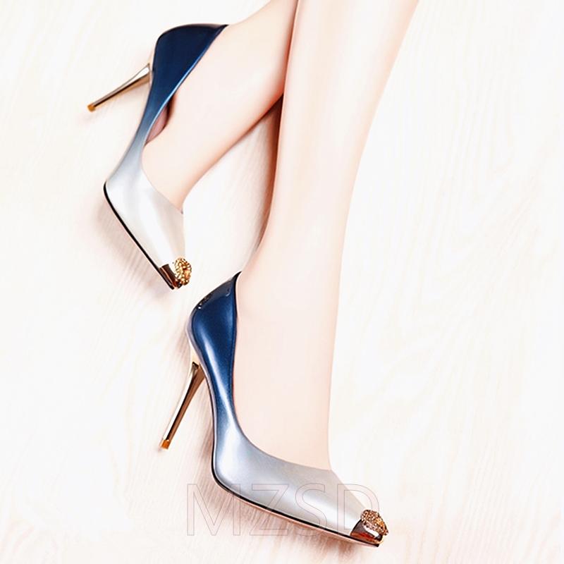 非主流高跟鞋 2020新款牛皮女单鞋 细高跟透气时尚渐变漆皮尖头小码女单鞋_推荐淘宝好看的女时尚 高跟鞋
