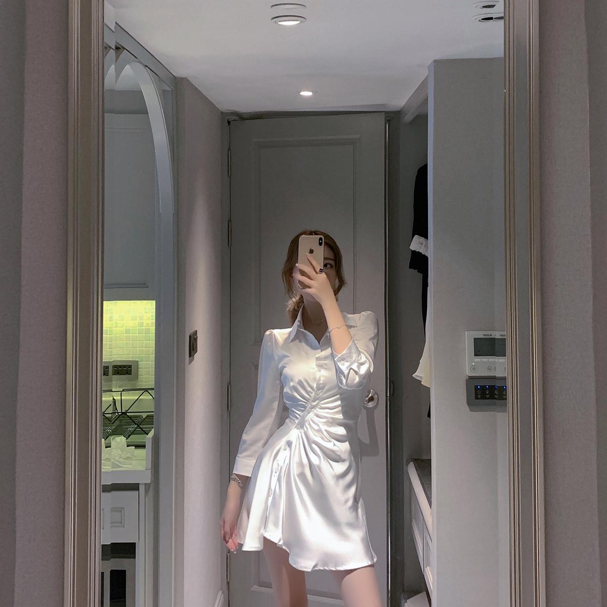 白色连衣裙 ByYou 夏季衬衫领白色绸缎连衣裙女设计感气质收腰显瘦不规则裙子_推荐淘宝好看的白色连衣裙