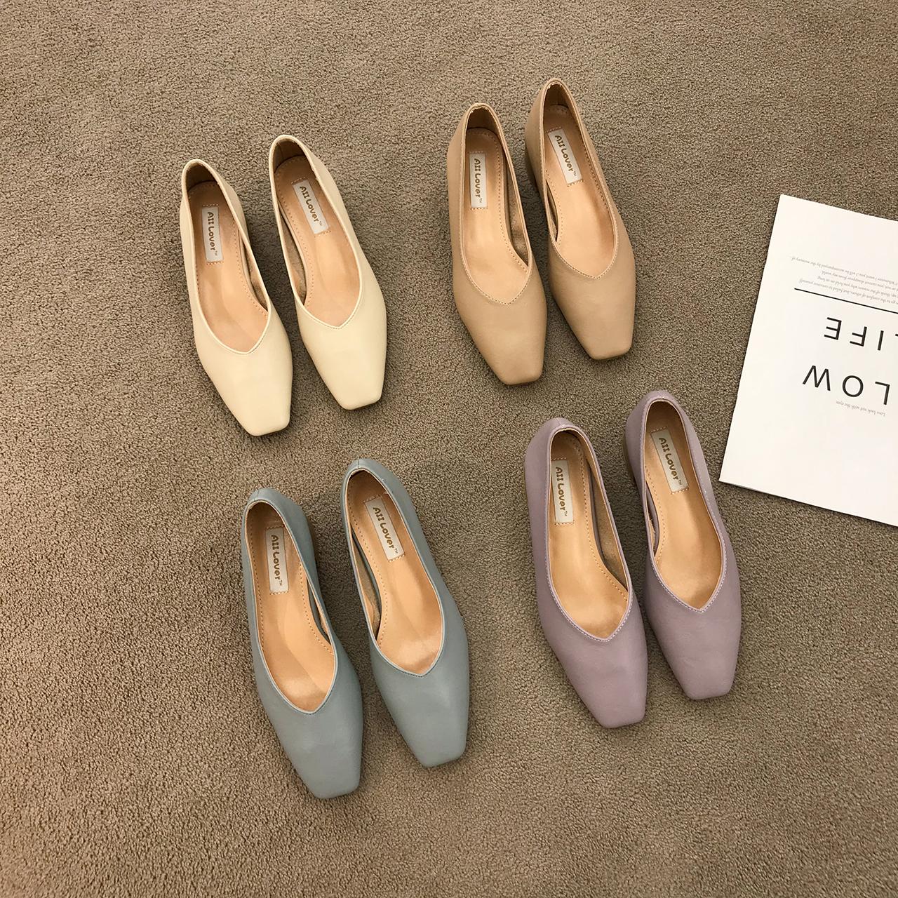 紫色高跟鞋 方头粗跟单鞋女2020年秋季百搭紫色软皮透气通勤工作高跟奶奶鞋_推荐淘宝好看的紫色高跟鞋
