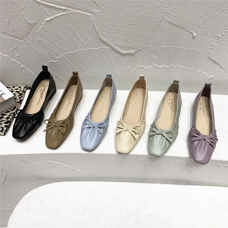 紫色豆豆鞋 韩国款~紫色褶皱蝴蝶结粗跟奶奶鞋气质仙女温柔风单鞋软底豆豆鞋_推荐淘宝好看的紫色豆豆鞋