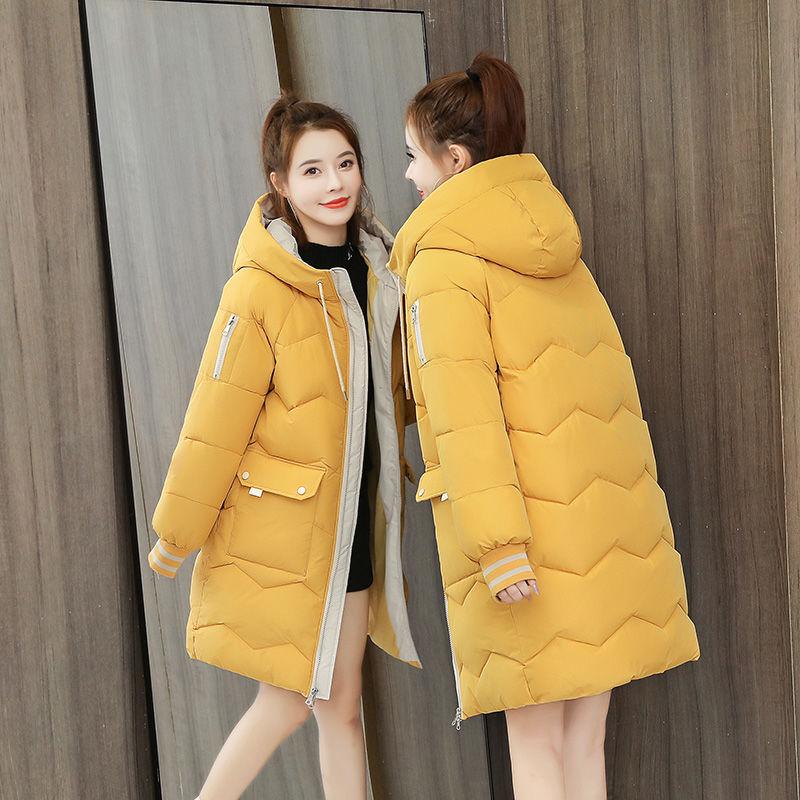 黄色羽绒服 2最新款反季棉服女中长款羽绒面包服韩版学生宽松潮流棉衣棉袄_推荐淘宝好看的黄色羽绒服