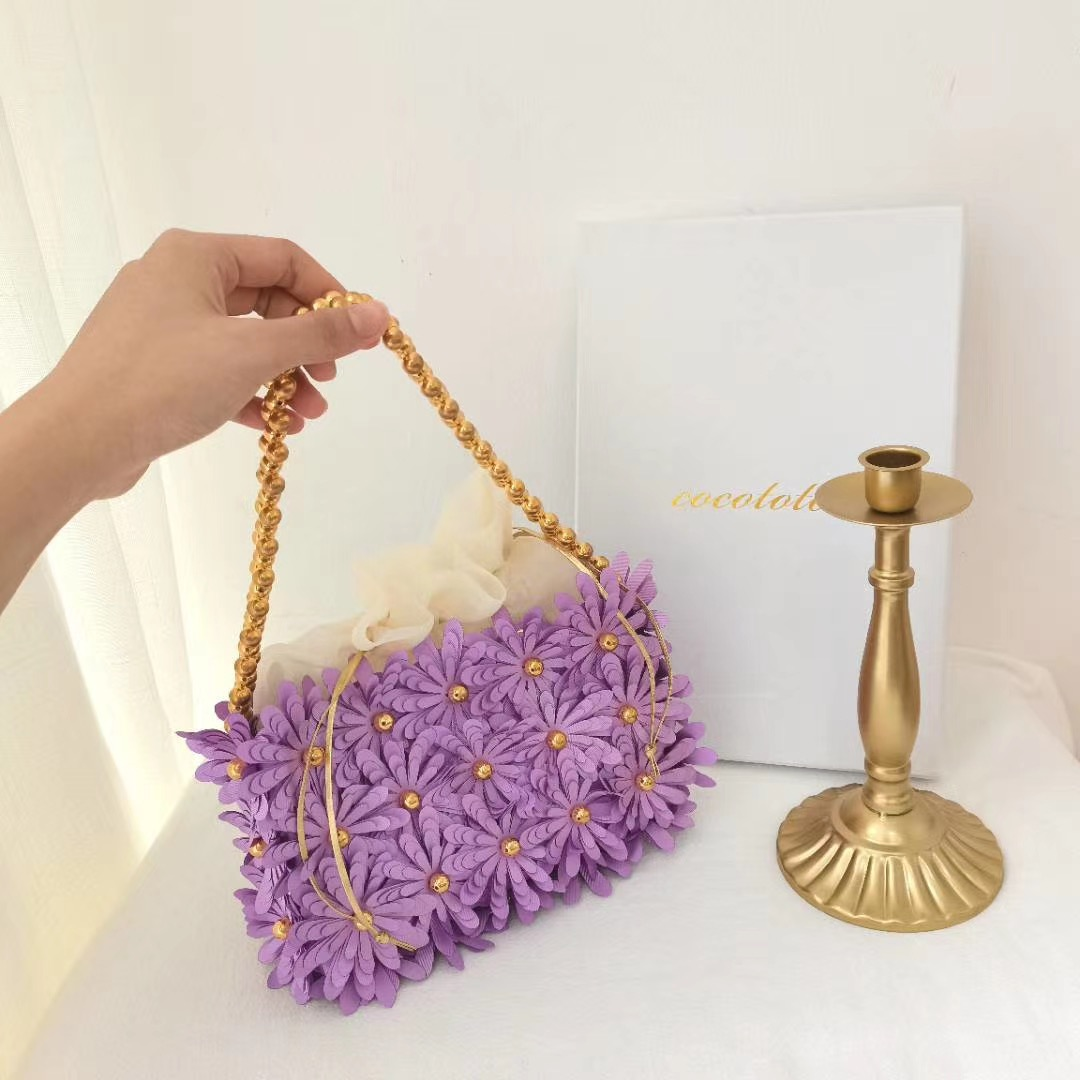 紫色链条包 vanin同款紫色花朵手提包夏新品时尚链条单肩包女小众设计腋下包_推荐淘宝好看的紫色链条包