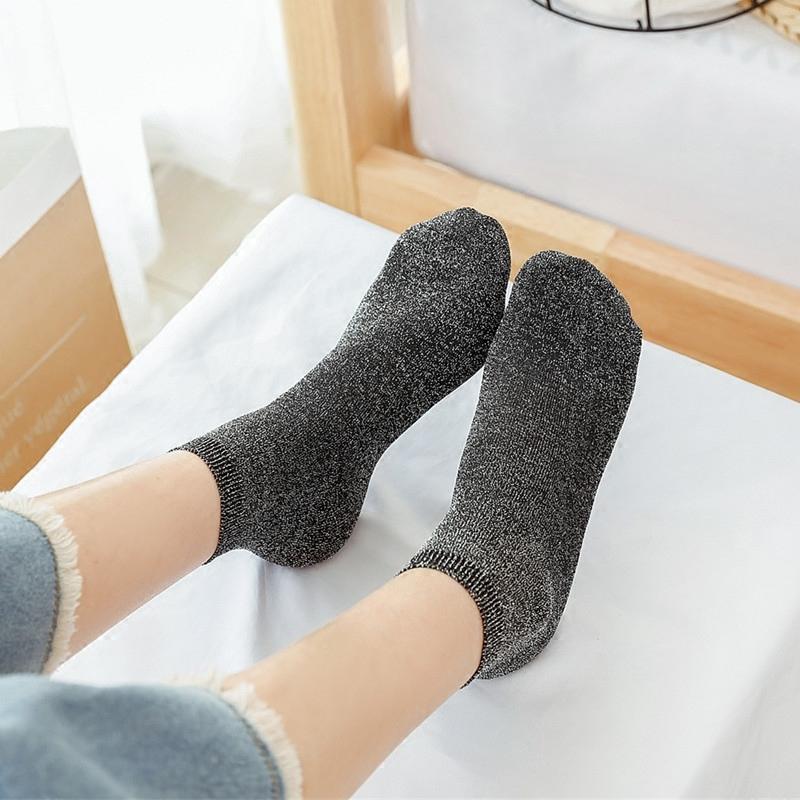 糖果色短丝袜 3双装春秋季薄款金银丝袜子女日系糖果色银葱短袜复古亮丝中筒袜_推荐淘宝好看的糖果色短丝袜