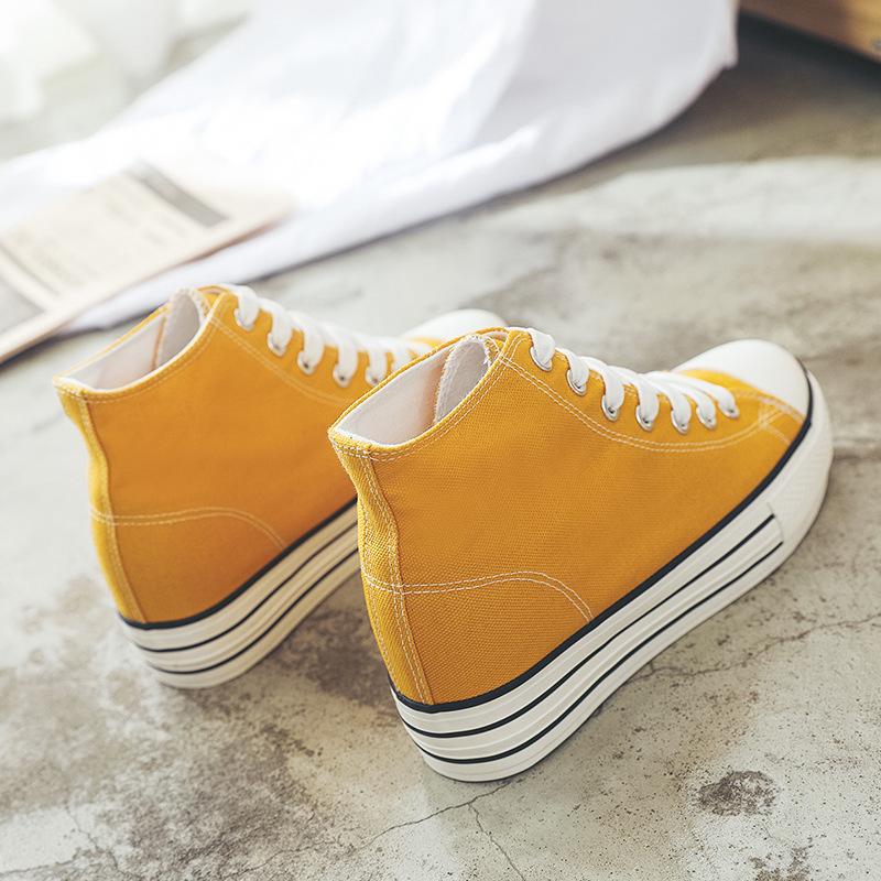 黄色松糕鞋 环球白色黄色帆布鞋女内增高6CM 厚底小黄鞋 百搭松糕跟高腰球鞋_推荐淘宝好看的黄色松糕鞋