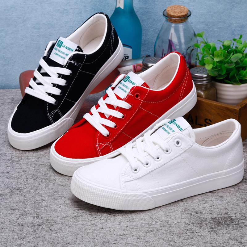 白色帆布鞋 人本红色帆布鞋女2020新款韩版百搭基础小白鞋 学生白色黑色板鞋_推荐淘宝好看的白色帆布鞋