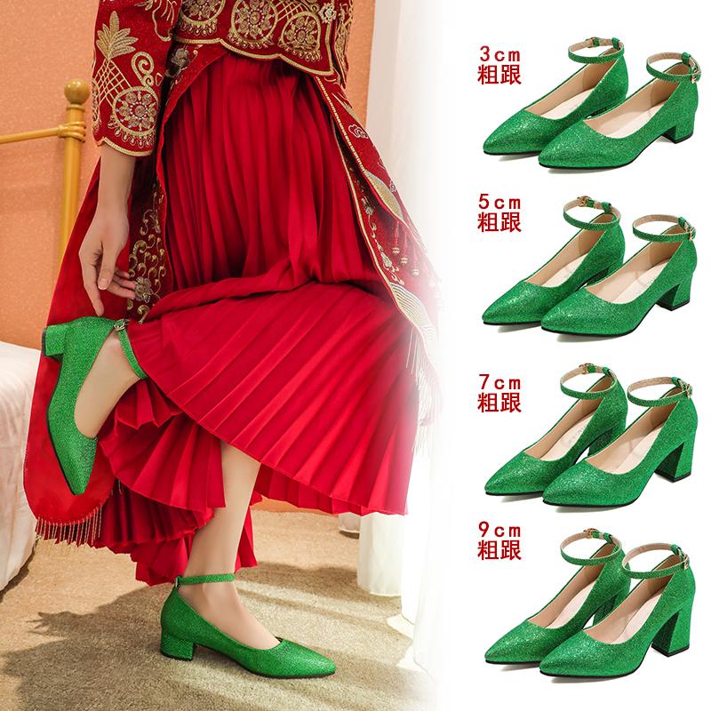 绿色高跟鞋 中跟绿色结婚鞋新娘鞋子大码新款孕妇鞋粗跟平底高跟防水台女单鞋_推荐淘宝好看的绿色高跟鞋